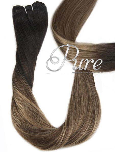 "1b/6/18 -NATURAL BLACK / DARKEST BROWN TO LIGHT BROWN & CARAMEL FOILED OMBRE WEFT / WEAVE WITH EASY BLENDS - DARK BROWN ROOTS TO MEDIUM BLONDE WITH FOILS OF CARAMEL & LIGHT BROWN 20-22"" - Pure Tape Hair Extensions"