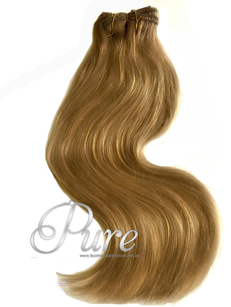 #12 SALTED CARAMEL CLIP IN HAIR EXTENSIONS EXTRA THICK 150 GRAMS