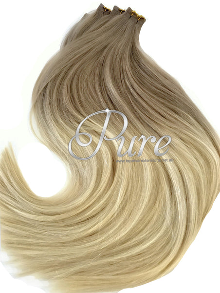 Dark ash blonde & light  blonde balayage tape hair extensions.