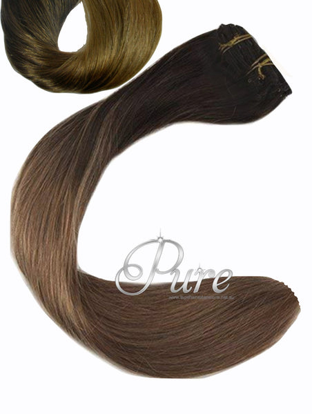 2/22/4/10 OMBRE WEFT / WEAVE - NEW EASY BLENDS -DARK BROWN ROOTS TO MEDIUM BLONDE WITH FOILS OF MEDIUM & LIGHT BROWN - Pure Tape Hair Extensions