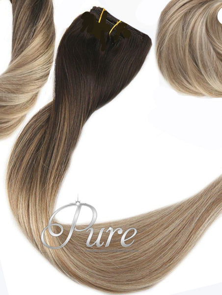 2/22/16 -  WEFT / WEAVE - DARK BROWN OMBRE / BALAYAGE TO MEDIUM BLONDE WITH EASY BLEND LOWLIGHTS OF CARAMEL - OMBRE WEFT OMBRE WEFT / WEAVE - NEW EASY BLENDS - 20-22' - Pure Tape Hair Extensions