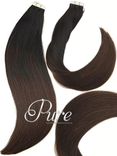 1b/2/1b DARKEST BROWN / NATURAL BLACK OMBRE / BALAYAGE TO MEDIUM BROWN WITH EASY BLEND LOWLIGHTS OF NATURAL BLACK - OMBRE WEFT OMBRE WEFT / WEAVE - NEW EASY BLENDS - 20-22' - Pure Tape Hair Extensions