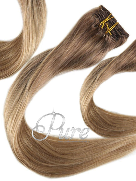 "#10/22 ""BRONZED BEAUTY""  LIGHT BROWN TO CARAMEL OMBRE MELT WEFT WEAVE HAIR EXTENSIONS - Pure Tape Hair Extensions"