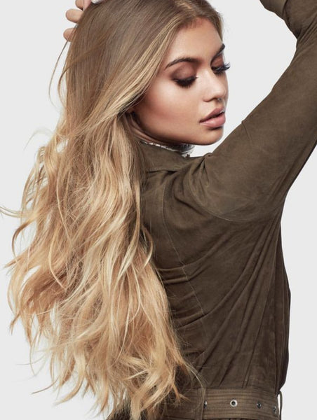 "10//22 OMBRE WEFT / WEAVE - NEW EASY BLENDS - LIGHT ASH BROWN ROOTS TO MEDIUM BLONDE WITH FOILS OF MEDIUM & LIGHT RBOWN 20-22"" - Pure Tape Hair Extensions"