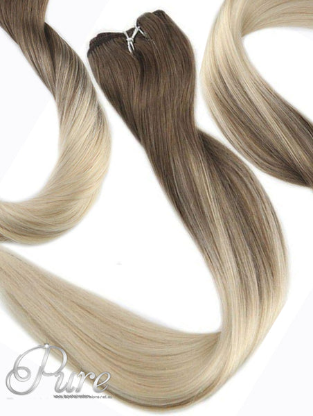 LIGHT BROWN TO LIGHT OMBRE BLONDE WEFT HAIR EXTENSIONS