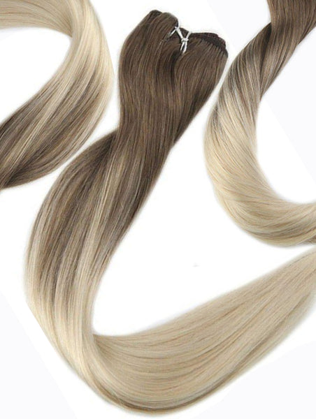 "#10/22/16 ""BONDI BLONDE"" ASH BROWN OMBRE BALAYAGE WEFT / WEAVE HAIR EXTENSIONS - Pure Tape Hair Extensions"