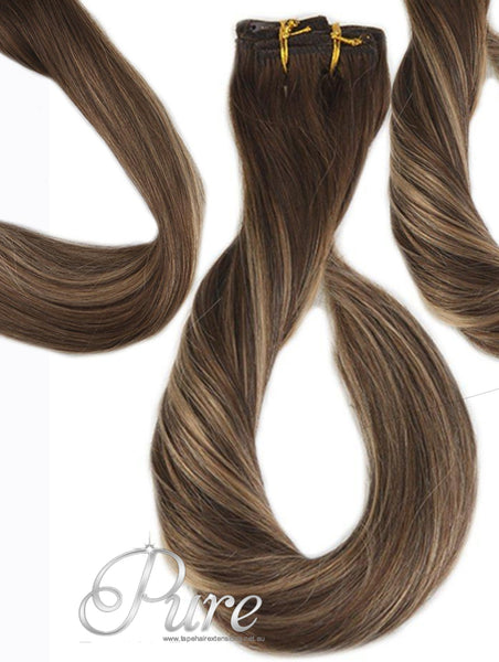 "2/4/22/ DARK BROWN TO CARAMEL OMBRE WEFT / WEAVE WITH EASY BLENDS - DARK BROWN ROOTS TO MEDIUM BLONDE WITH FOILS OF MEDIUM & DARK BROWN 20"" - Pure Tape Hair Extensions"
