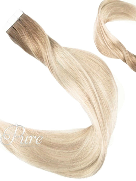 LIGHT BROWN TO BLONDE ROOT STRETCH FADE BALAYAGE TAPE HAIR EXTENSIONS