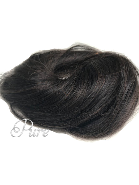 #1b/2 Darkest Brown With Brown Foils  -Booster Volume Bun - 100% human hair scrunchies bun - Pure Tape Hair Extensions