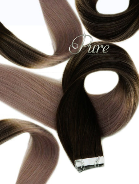 #1b/Ash Blonde - Darkest Brown Root To Ashy End / long Root Stretch / Balayage - Pure Tape Hair Extensions