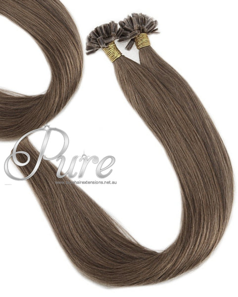 NAIL TIP / KERATIN HAIR EXTENSIONS #17 - LIGHT ASH BROWN HAIR - Pure Tape Hair Extensions