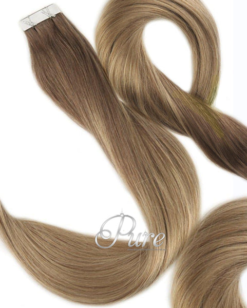 6/16/6 Light  Brown To Caramel Blonde Foils Short Fade Balayage / Ombre Tape Hair Extensions - Pure Tape Hair Extensions