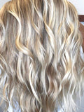blonde highlighted weft hair extensions