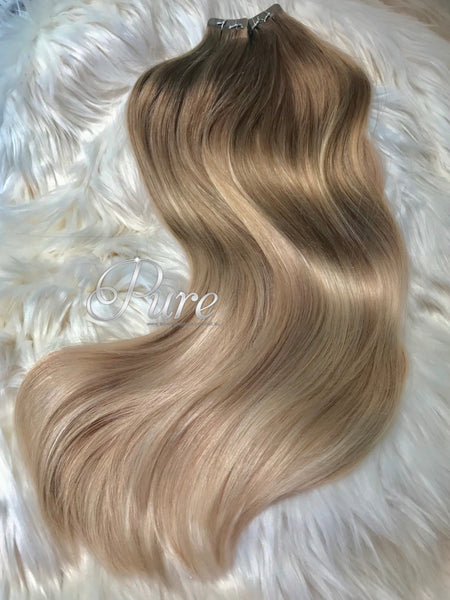 LIGHT ASH BROWN TO BLONDE BALAYAGE TAPE-IN HAIR EXTENSIONS