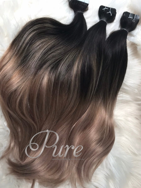 black roots  to light ash brown balayage tape hair extensions