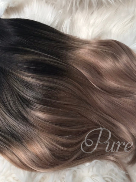BLACK TO DARK BLONDE HIGHLIGHTED TAPE-IN HAIR EXTENSIONS
