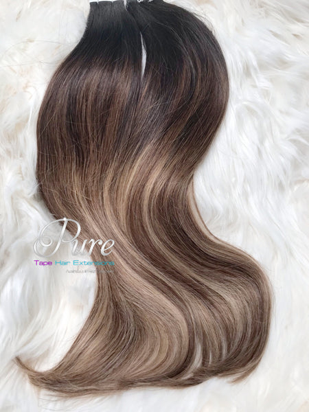 "1b/4/22/ NATURAL BLACK ROOTS TO CARAMEL & COOL MEDIUM BLODE FOILS OMBRE TAPE-IN WITH EASY BLEND EFFECT -  20-30"""" - Pure Tape Hair Extensions"