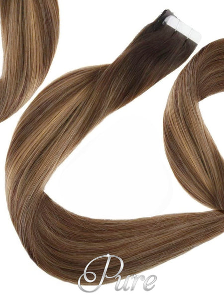 "#2/10/16 ""AMAZONIAN SWIRL"" BROWN TO MEDIUM BLONDE HIGHLIGHTED BALAYAGE / OMBRE TAPE HAIR EXTENSIONS - Pure Tape Hair Extensions"