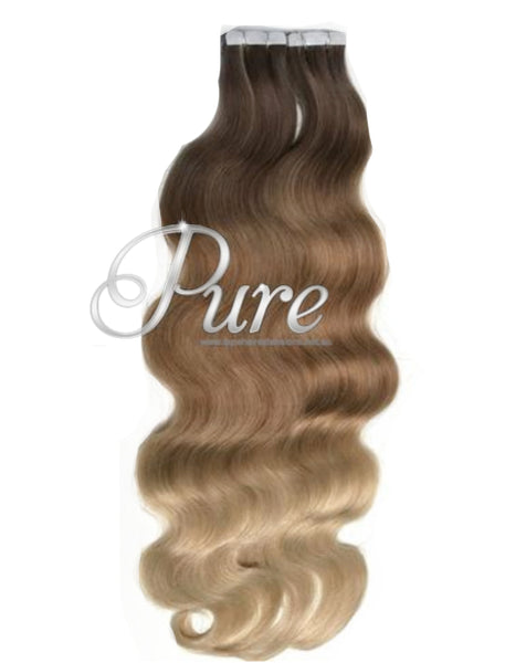 "#4/12/22 Wavy Ombre Balayage Luxury Russian Grade Tape Hair Extensions 22"" - Pure Tape Hair Extensions"