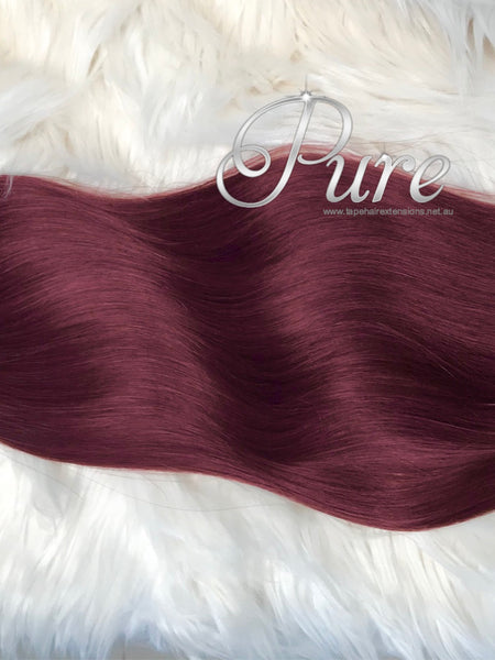 99BB BRIGHT BURGUNDY RED CLIP IN HAIR EXTENSIONS - Pure Tape Hair Extensions