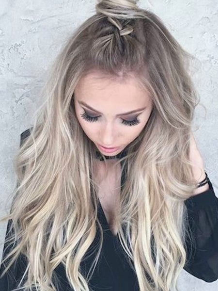 "#18/50/18 'SANTA MONICA"" DARK ASH BLONDE TO LIGHT BLONDE BALAYAGE WEFT WEAVE - Pure Tape Hair Extensions"