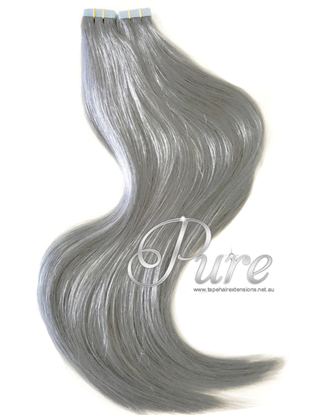 #METALLIC - SILVER BLONDE LUXURY RUSSIAN TAPE-IN SEAMLESS HAIR EXTENSIONS - Pure Tape Hair Extensions