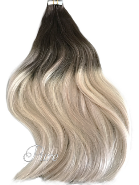 "#2/60/18 ""ISABELLA"" COOL DARK BROWN TO BLONDE OMBRE / BALAYAGE TAPE-IN HAIR EXTENSIONS - Pure Tape Hair Extensions"