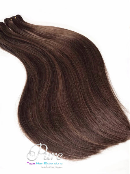 #4/8 SUGAR & SPICE - BROWN & CARAMEL FOILED WEFT HAIR EXTENSIONS