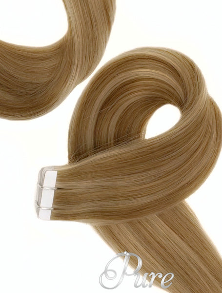 "#5/16 ""SUNKISSED"" LIGHT BROWN & CARAMEL BLONDE TAPE-IN HAIR EXTENSIONS"