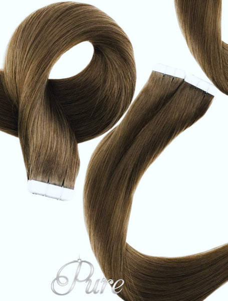 "#6 ""MAPLE BROWN"" LIGHT BROWN TAPE HAIR EXTENSIONS"
