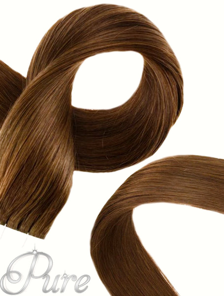 #5 BRONZE LIGHT CHESTNUT BROWN TAPE HAIR EXTENSIONS