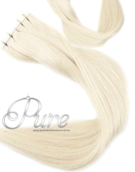 "#613  ""VANILLA BLONDE' LIGHT GOLDEN BLONDE TAPE HAIR EXTENSIONS - Pure Tape Hair Extensions"