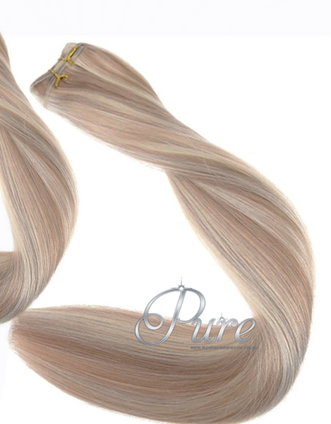 #16/613 - CARAMEL BLONDE & LIGHT BLONDE FOILED WEFT / WEAVE HAIR EXTENSIONS - Pure Tape Hair Extensions