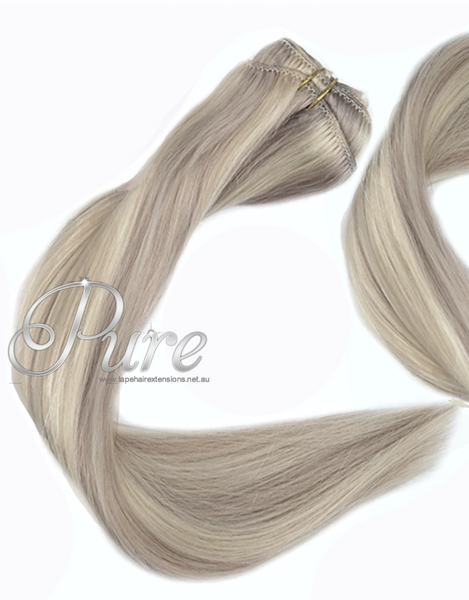 "#18/613 ""BEVERLEY HILLS"" - COOL LIGHT BLONDE / DARK BLONDE FOILED WEFT / WEAVE - Pure Tape Hair Extensions"