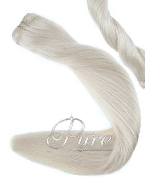 #60A PLATINUM BLONDE - PLATINUM ASH BLONDE -WEFT / WEAVE RUSSIAN GRADE LUXURY HAIR - Pure Tape Hair Extensions