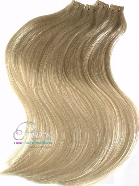 dark ash blonde to light blonde balayage tape hair extensions