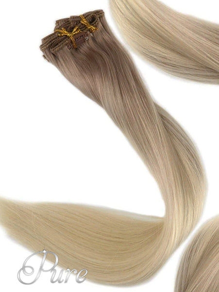 CLIP IN #6b/613/60 DARK ASH BLONDE ROOTS TO LIGHT BLONDE OMBRE BALAYAGE CLIP-IN HAIR EXTENSIONS - Pure Tape Hair Extensions