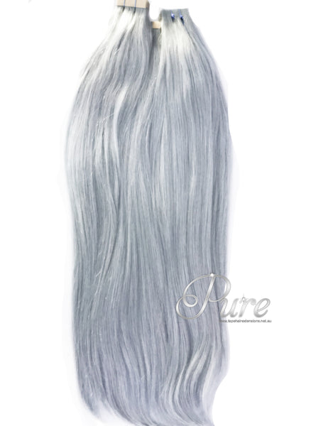 #ICED METALLIC BLUE - TAPE HAIR EXTENSIONS - LUXURY VIRGIN FULL CUTICLE HAIR EXTENSIONS - Pure Tape Hair Extensions