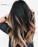 #1b/22/10 -  Tape Hair Extensions Ombre Long Fade Balayage Darkest Brown to Blonde - Pure Tape Hair Extensions