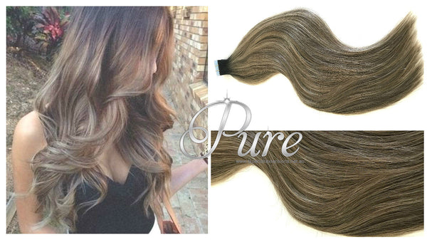 1b/6/2 Darkest Brown Roots To Light Brown Short Root Fade Balayage / Ombre Tape - Pure Tape Hair Extensions