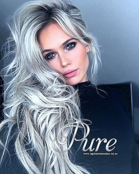 #SILVERY GREY - LIGHT METALLIC GREY - TAPE-IN HAIR EXTENSIONS - LUXURY RUSSIAN - Pure Tape Hair Extensions