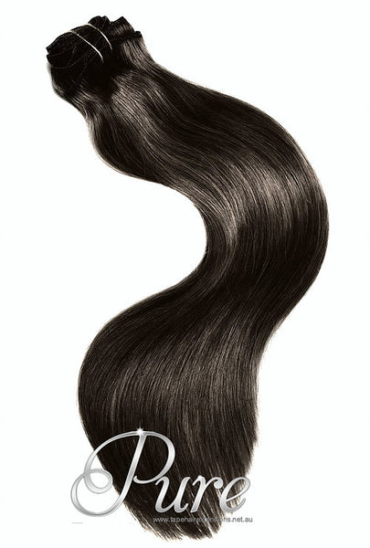 #1B - DARKEST BROWN / NATURAL BLACK / WEAVE WEFT HAIR EXTENSIONS - Pure Tape Hair Extensions