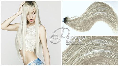 "1B/60 ""CHICAGO"" DARKEST BROWN ROOTS TO PLATINUM BLONDE ROOT STRETCH BALAYAGE / OMBRE TAPE HAIR EXTENSIONS - Pure Tape Hair Extensions"