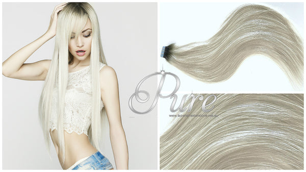 "#1/60 ""IVY"" BLACK ROOTS TO PLATINUM BLONDE BALAYAGE / OMBRE TAPE HAIR EXTENSIONS - Pure Tape Hair Extensions"