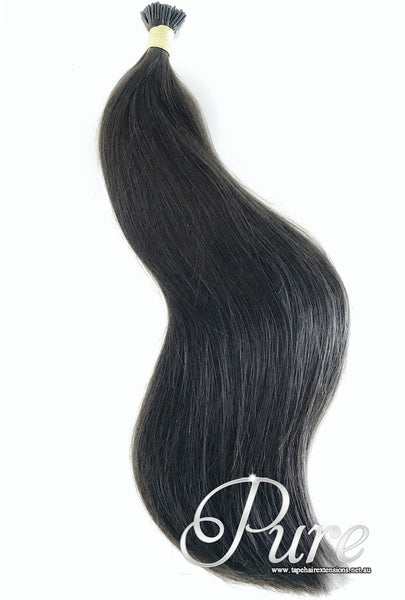 MICRO - BEAD HAIR EXTENSIONS #1B - DARKEST BROWN / NATURAL BLACK - Pure Tape Hair Extensions
