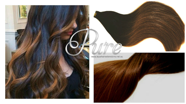 BROWN BROWN & LIGHT BROWN BALAYAGE TAPE-IN HAIR EXTENSIONS