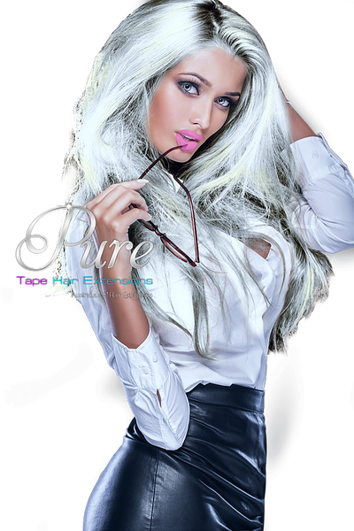 #STRIKING SILVER BLONDE - WEFT / WEAVE - ULTIMATE LUXURY RUSSIAN GRADE - Pure Tape Hair Extensions