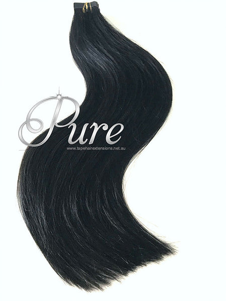 #1 - EBONY - JET BLACK-TAPE HAIR EXTENSIONS -LUXURY RUSSIAN - Pure Tape Hair Extensions