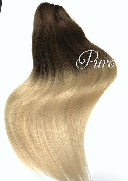 "#2/60/613 ""CHAMPAIGN"" DARK BROWN TO PLATINUM & GOLDEN BLONDE BALAYAGE CLIP IN - Pure Tape Hair Extensions"