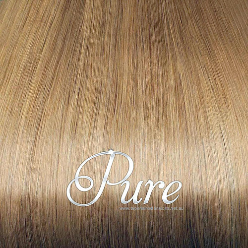 MICRO - BEAD HAIR EXTENSIONS #12 - SALTED CARAMEL - RICH CARAMEL BLONDE - Pure Tape Hair Extensions
